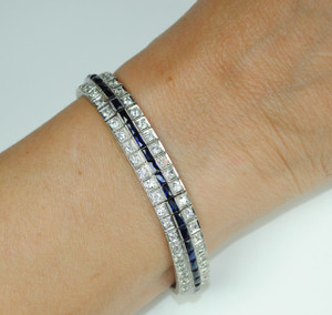 Art Deco Sapphire and Diamond 3 Row Line Bracelet in Platinum
