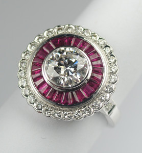 Art Deco Style Diamond and Ruby Ring in 18kt