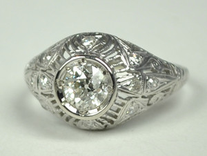 Art Deco Platinum Ring - 100711J