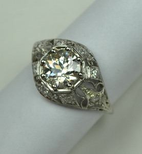 Lacy Art Deco Diamond Engagement Ring