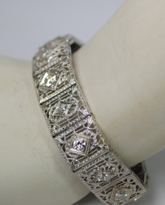 On Sale 3.15 carat Filigree and Diamond Bracelet