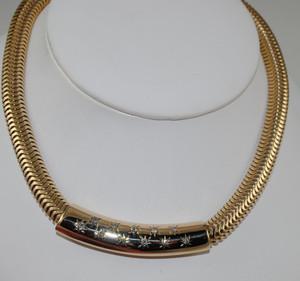 Beautiful Wide Retro Snake Chain with Diamond Center