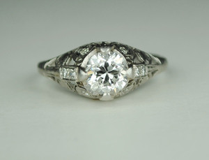 1.0 Carat Edwardian Platinum Engagement Ring