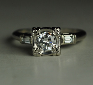 A .38 Carat Mid Century Engagement Ring