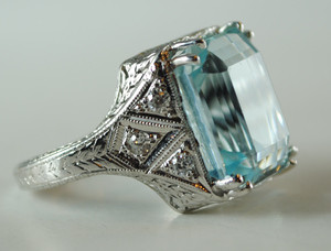 Art Deco Aquamarine and Diamond Ring in Platinum