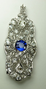 Fabulous Art Deco Sapphire and Diamond Brooch