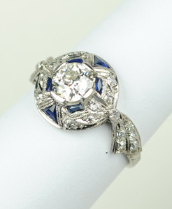 .68 Carat Diamond Art Deco Bow Ring in Platinum
