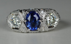 On Sale  Amazing 3 Stone Art Deco Sapphire and Diamond Ring
