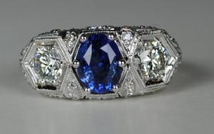 On Sale  Amazing 3 Stone Art Deco Sapphire and Diamond Ring