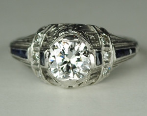 .80 Carat Art Deco Filigree Engagement Ring