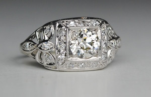 Art Deco .73 Carat Diamond Engagement Ring with Handmade Bows