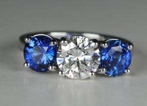 Fabulous Three stone Diamond and Sapphire Ring