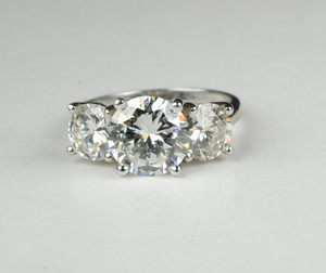 SOLD 3 Stone Diamond Platinum Ring