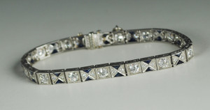 Art Deco Platinum & Diamond Line Bracelet with Sapphire Accents