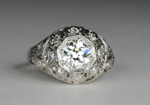 Edwardian Platinum & Diamond Engagement Ring 1.09 carats