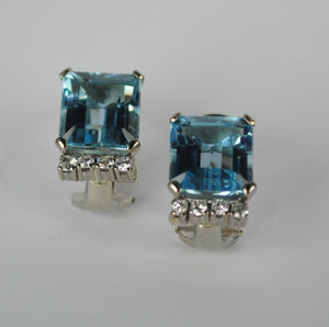 Mid Century Aquamarine & Diamond 18kt White Gold Earrings