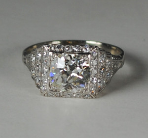 Art Deco Platinum Diamond Step-Up Engagement Ring  1.50 carats