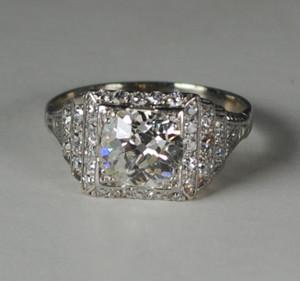 Art Deco Platinum Diamond Step-Up Engagement Ring  1.50 carats