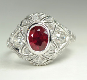 Art Deco Ruby Platinum and Diamond Ring