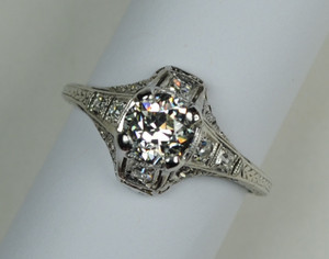 Platinum Art Deco Engagement Ring .75 carats