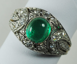 Early Art Deco Cabochon Emerald, Diamond and Platinum Ring