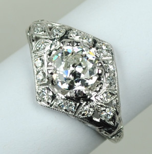 Art Deco Platinum & Diamond Engagement Ring 1.04 carats