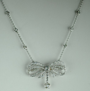 Art Deco Platinum Diamond Bow Pendant 4.25 carats