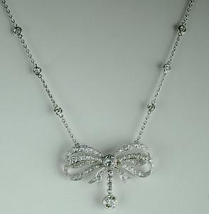 Art Deco Platinum Diamond Bow Pendant 4.25 carats
