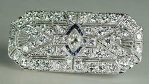 Art Deco Diamond and Calibre Sapphire Pin