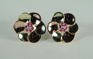 Retro Rose Gold Ruby and Diamond Earrings