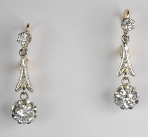 Edwardian 18kt & Platinum 1.25 carat European Diamond Earrings