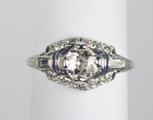 Art Deco Platinum Engagement Ring .65 carat center