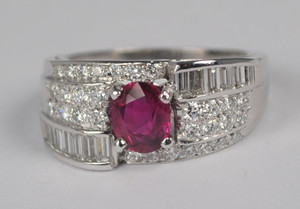 Ruby and Diamond Ring/Band in platinum
