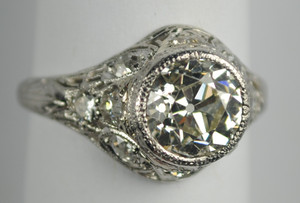 Art Deco Platinum & Diamond Engagement Ring 2.13 carats