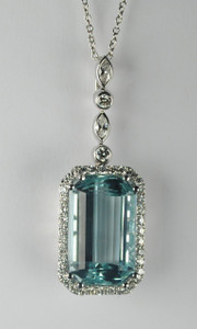 Exquisite 29.03 carat Aquamarine and Diamond Pendant