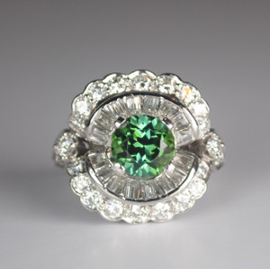 Green Tourmaline, Diamond and Platinum Statement Ring