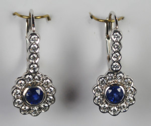 Gorgeous Diamond and Sapphire Halo Earrings