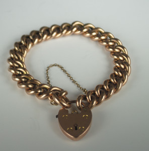 English Victorian 9kt Gold Gate Bracelet w/ Heart Padlock