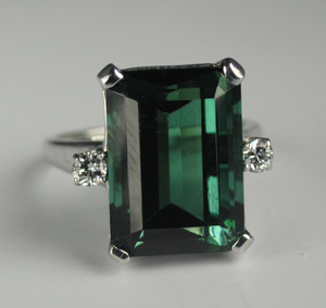 Amazing 18.22 Carat Green Tourmaline & Diamond Ring