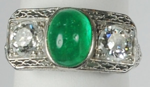 Art Deco Emerald and Diamond Ring from John Wanamaker Jewelers