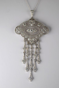 Magnificent Edwardian Platinum Diamond Pin/Pendant