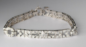 Art Deco Platinum & Diamond Filigree Bracelet 5.50+ctw.