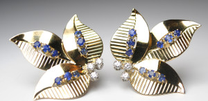 Retro Diamond and Sapphire Ear Clips