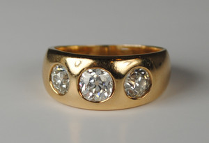Gold and Diamond Gypsy Ring 1.45 carats