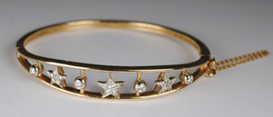 14kt Diamond Star Bangle