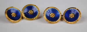 Art Deco French, 18kt Enamel Cufflinks