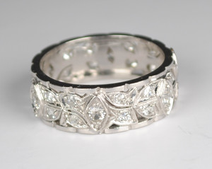 Art Deco Platinum and Diamond Band