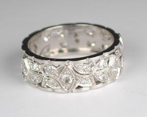 Art Deco Platinum and Diamond Band