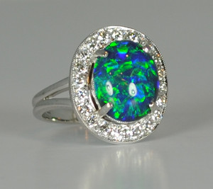 Vintage 14kt Black Opal & Diamond Ring