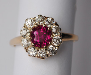 Edwardian Burmese Ruby & Diamond Ring 14kt